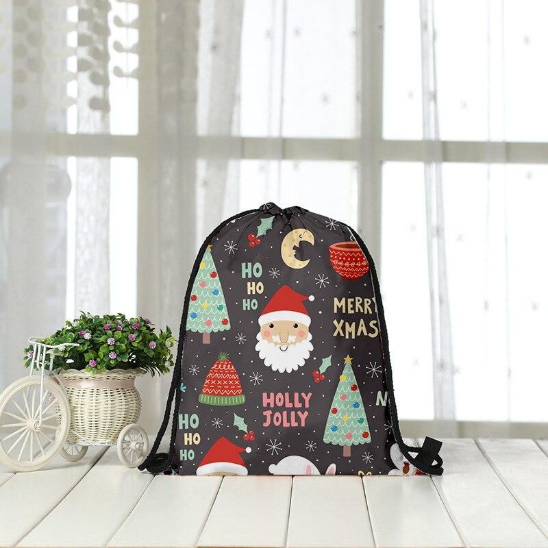 Drawstring Backpack Fashion Women 3D Printing Travel Softback Men Christmas Drawstring Bags Unisex Women's Shoulder Bunches Bags