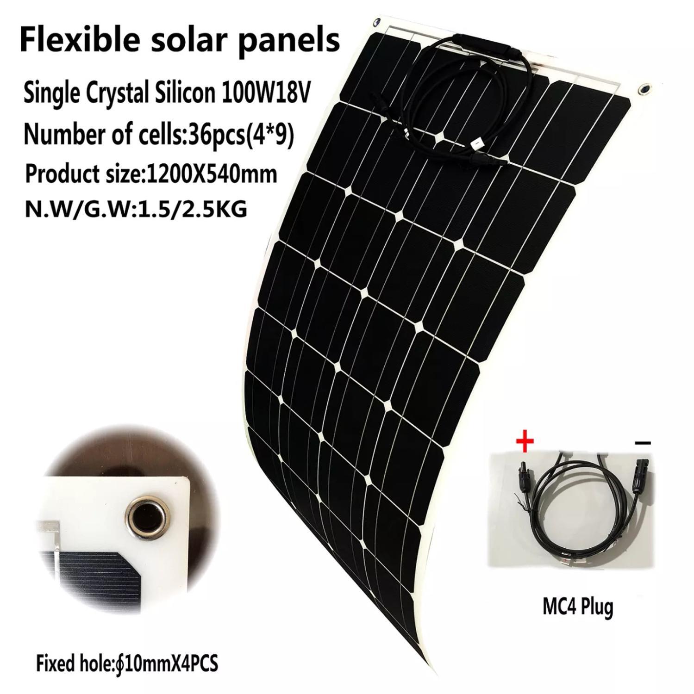 Панели Солнечные 100 Вт 18 вольт Панель Солнечный гибкий Monocrsytalline солнечные фотогальванические элементы для автомобиля морские солнечные Бат