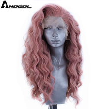 Anogol Pink Synthetic Lace Front Wig Long Deep Wave Hair Wigs with Free Part for Women  High Temperature Fiber