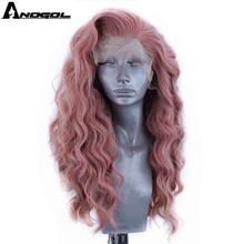 Anogol peluca con malla frontal oscuro largo para mujer, pelo sintético rosa, ondulado, parte libre, fibra de alta temperatura