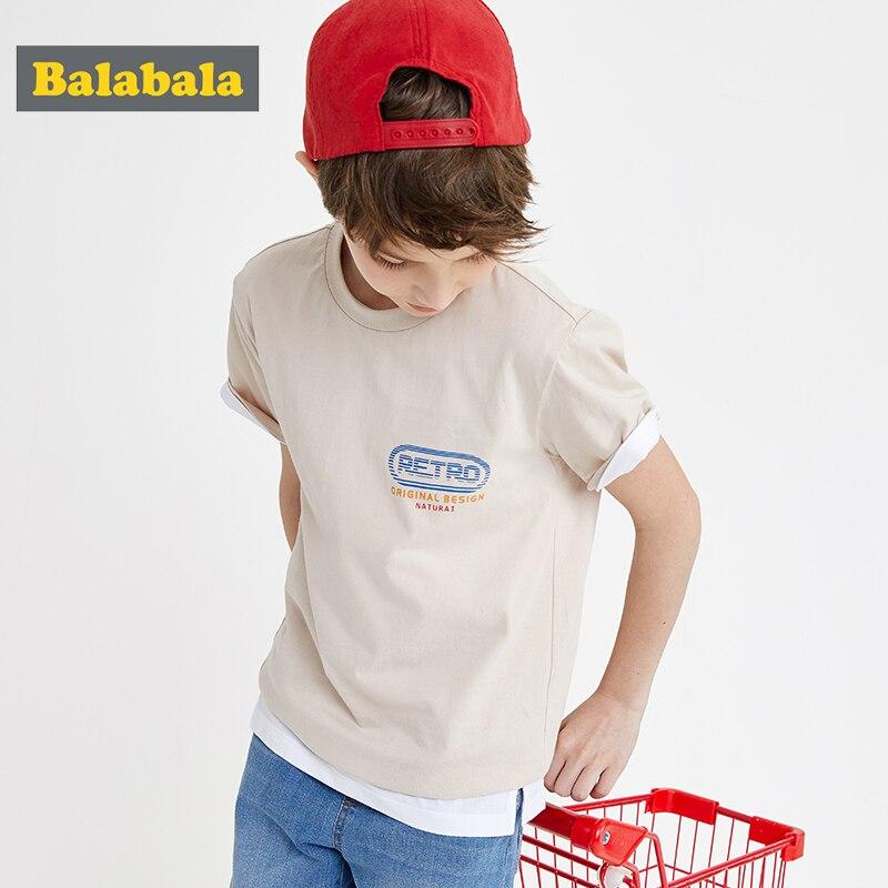 Balabala Children shirt boy short-sleeved T-shirt 2020 summer new cotton shirt simple soft comfortable(China)