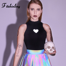 Fitshinling Reflective Heart Gothic Tanks Tops Women Harajuku Grunge Slim Sexy Crop Top Female Black Goth Dark Tank Sale