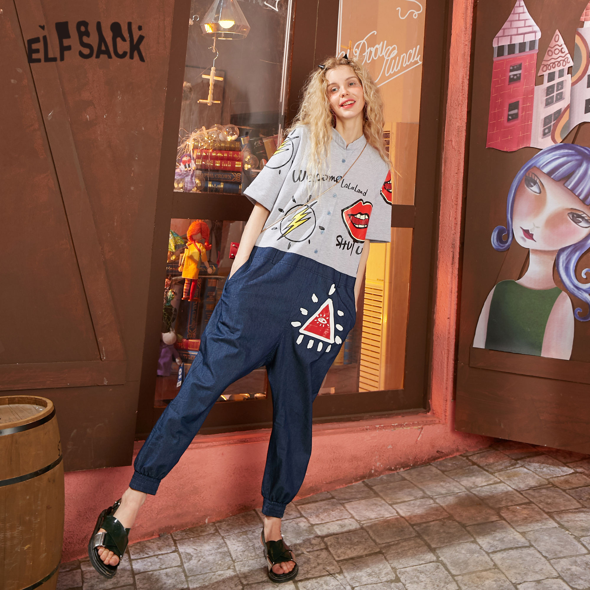 ELFSACK Blue Gray Colorblock Graphic Print Casual Women Jumpsuits 2020 Spring Patchwork Korean Ladies Daily Denim Romper