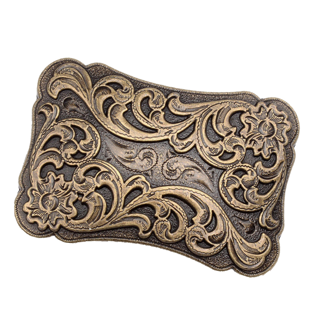 Novelty Alloy Western Belt Buckle Arabesque Pattern Embossed Flower Men