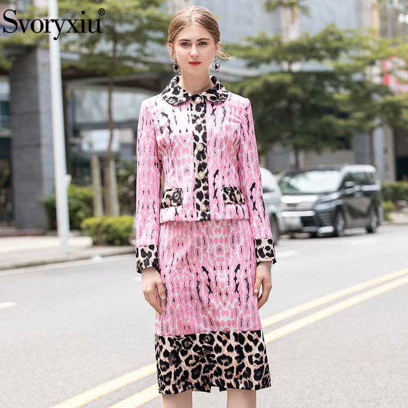 Svoryxiu Elegant Runway Designer Autumn Winter Skirt Suit Women's Fashion Luxury Pink Leopard Printed Two Piece Set Female