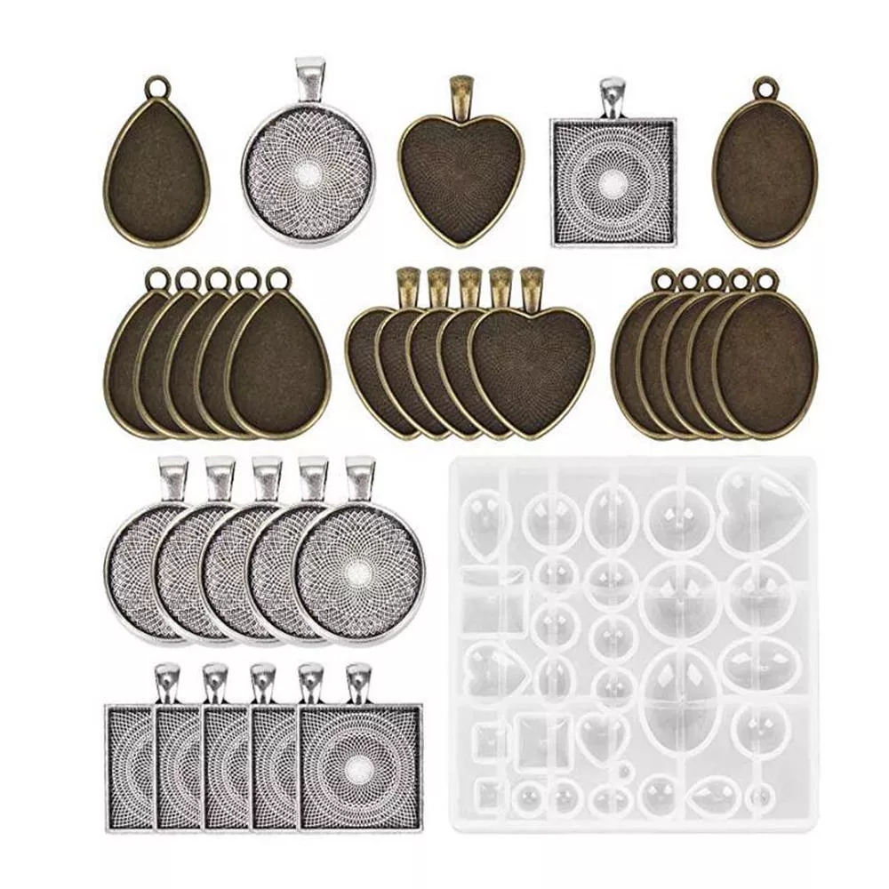 31Pcs DIY Silicone Resin Molds Pendant Jewelry Molds Crystal Craft Kit for DIY Jewelry Craft Making