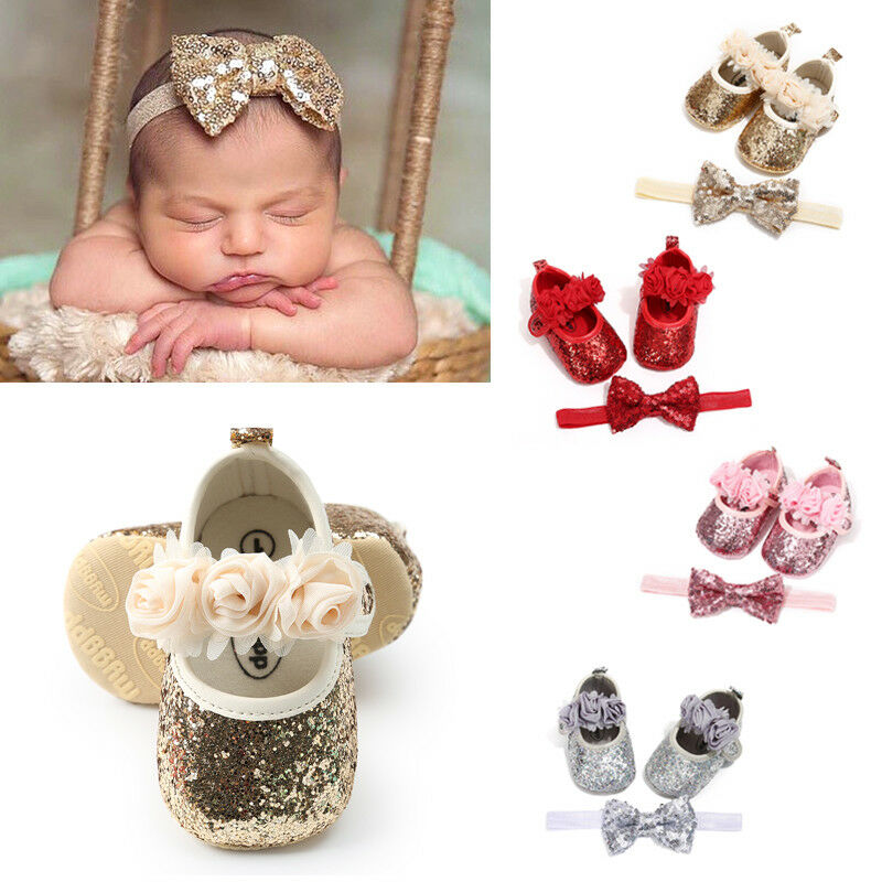 Newborn Infant Baby Girls Boys Summer Crib Shoes 3 Style Sequined Floral Flat With Heel Hook Princess Shoes+Headband 2PCS