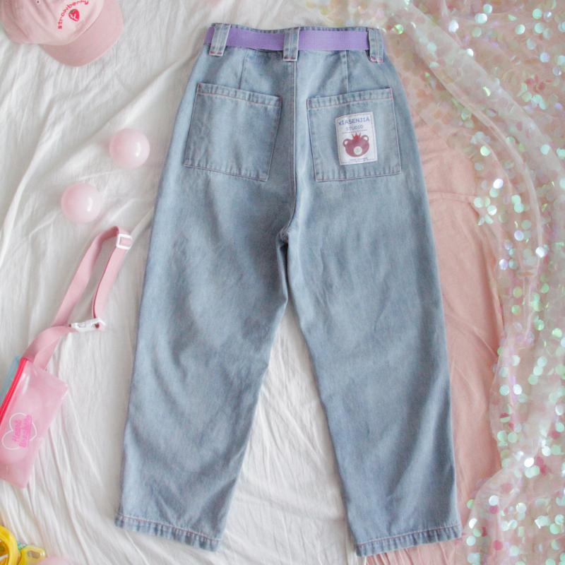 Harajuku Kawaii Women Jeans Cartoon Loose High Waist Denim Pants Female Cute Bear Patch Light Blue Straight Pants