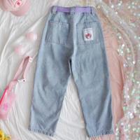 Harajuku Kawaii Women Jeans Cartoon Loose High Waist Denim Pants Female Cute Bear Patch Light Blue Straight Pants