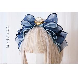Японский Лолита Градиент оболочки KC бант волос обруч пряжа ткачество стиль головной убор Лолиты ручной работы аксессуары для волос Косплей