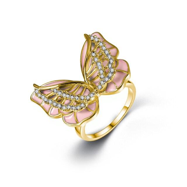 Pierścionek damski emalia motyl pierścień z motylem moda urok inkrustowane cyrkonią pierścionek bankiet ślub jest przeznaczony dla dziewczyny
