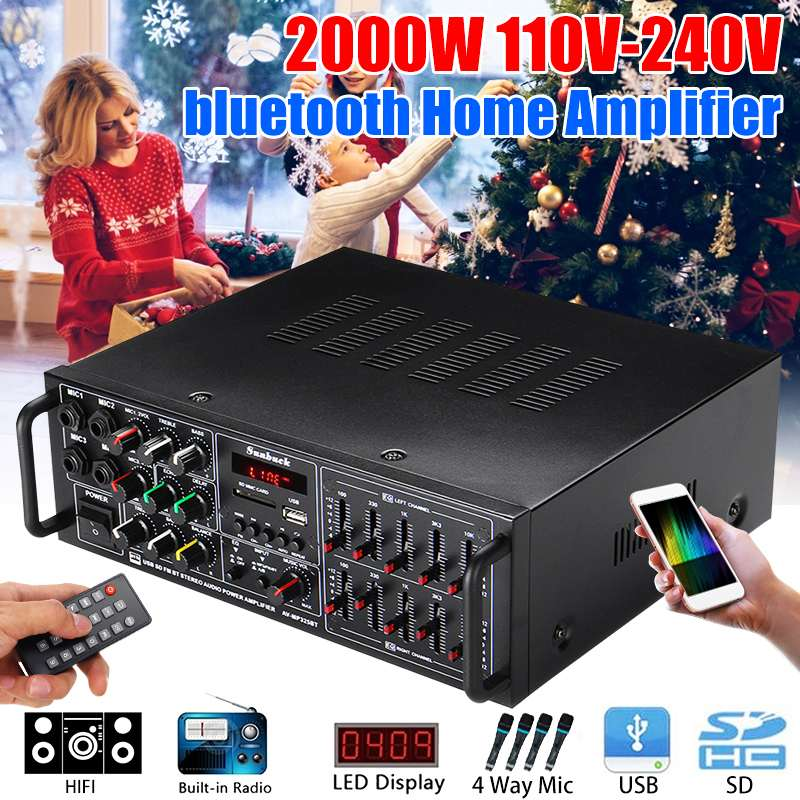 5.0 Bluetooth 2 Channel 2000W Home Theater Amplifiers Stereo USB AV Amp FM MP3 Remote Control Support 4 Micro