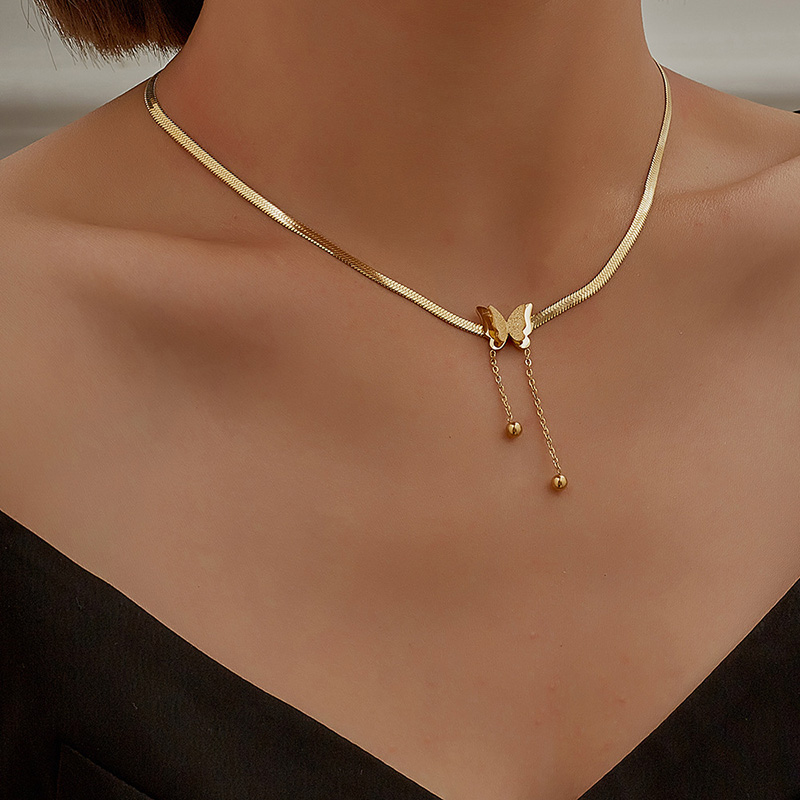 Vintage Butterfly Necklace For Women Gold Stainless Steel Blade Snake Chains Aesthetic Charms Choker Women jewelry Gift To Mujer