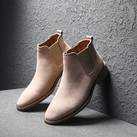 Kanye West Chelsea Boots 100% Genuine Leather High Quality Vintage Men Boots Crepe Bottom Ankle Chelsea Boots Handmade Men ST403
