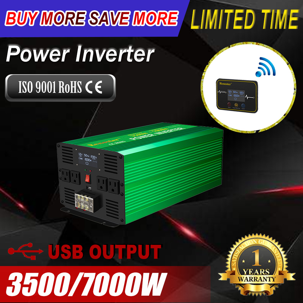 Renoster wireless <font><b>power</b></font> <font><b>inverter</b></font> 3500/<font><b>7000w</b></font> <font><b>pure</b></font> <font><b>sine</b></font> <font><b>wave</b></font> <font><b>inverter</b></font> lcd <font><b>power</b></font> converter remote controll for car <font><b>power</b></font> <font><b>inverter</b></font> image
