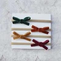 Kinder Kuendy 4 teile/paket Grün/Karamell/Kamel/Burgund Baby Mädchen Blumen Haar Zubehör samt Wolle Bogen und filz Blumen Stirnbänder