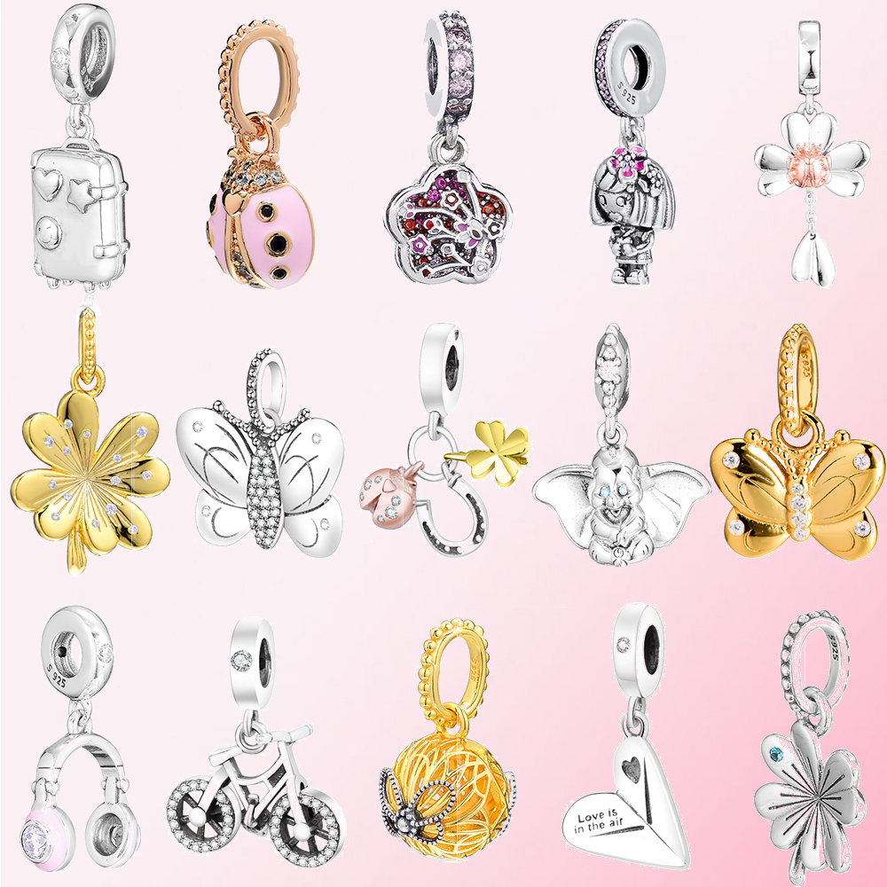 2019 Spring Bicycle Clover Headphones Ladybug Butterfly Peach Suitcase Girl Paper Airplane Elephant Pendant Glamour 925 Silver image