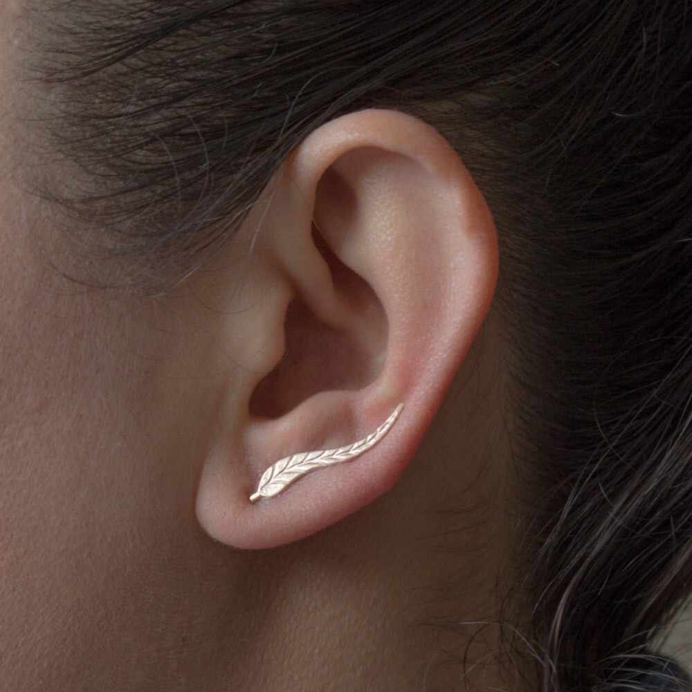 1Pair Modo Delle Donne del Metallo Foglia Dell'orecchio Degli Orecchini Della Clip Coreano di Design Moderno 2019 Orecchini In Metallo di Piccole Dimensioni Del Partito Dei Monili Regali Ciondolo oro