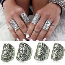 4PCS/Set Ethnic Carving Tibetan Antique Silver Plated Ring Set For Women Boho Beach Jewelry