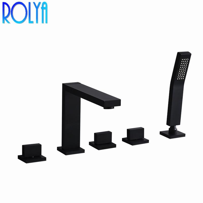 Rolya carré Style noir pont monté baignoire romaine robinet 5 trous baignoire robinet douche mitigeur