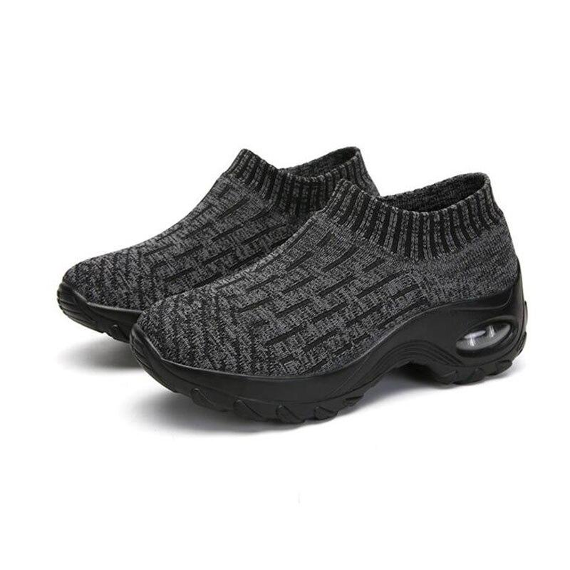 Zapatillas de otoño calcetines Zapatos de madre zapatos de punto de gran tamaño de las mujeres de fondo grueso de moda calcetines Zapatos de diseñador casual