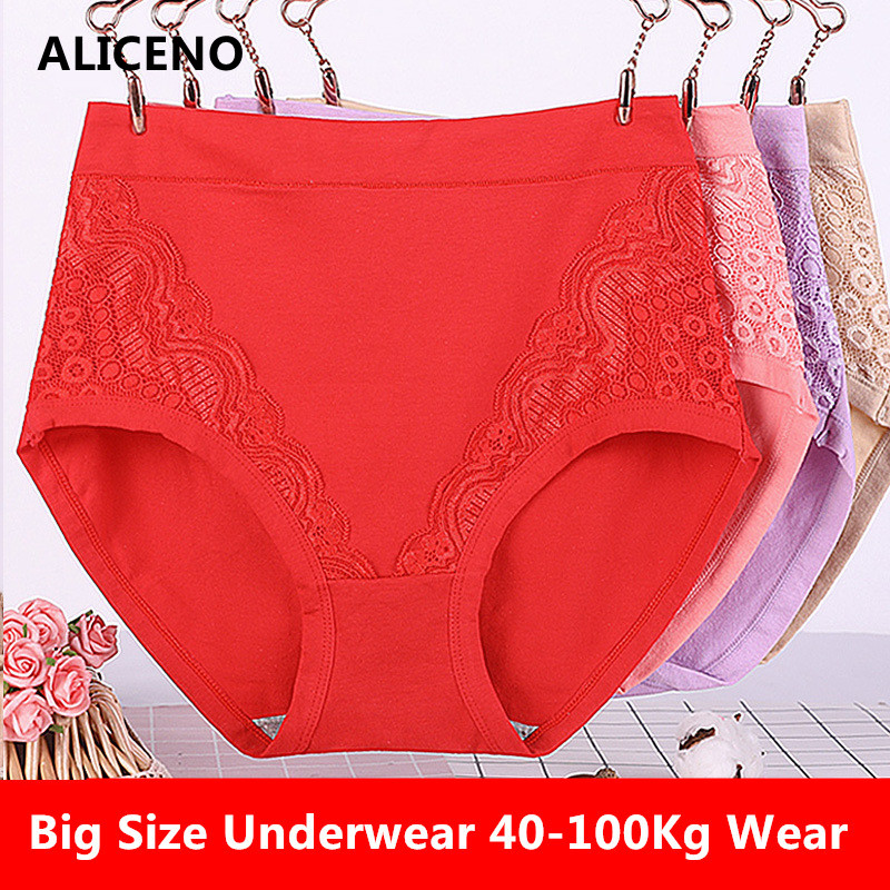 Sexy Lace Big Size High Waist Women Panties Solid Cotton Comfort Briefs Lady's Underwear Underpants Panty Intimates 6634(China)