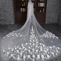 Rose Flower Long Veil Luxury Ivory 3.5m Wide Bridal Veil High Quality Wedding Accessories