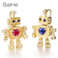 BAIHE Solid 18K Yellow Gold Flawless 0.20ct Heart 100% Genuine Natural Ruby/sapphire Wedding Women Trendy Fine Jewelry Pendant