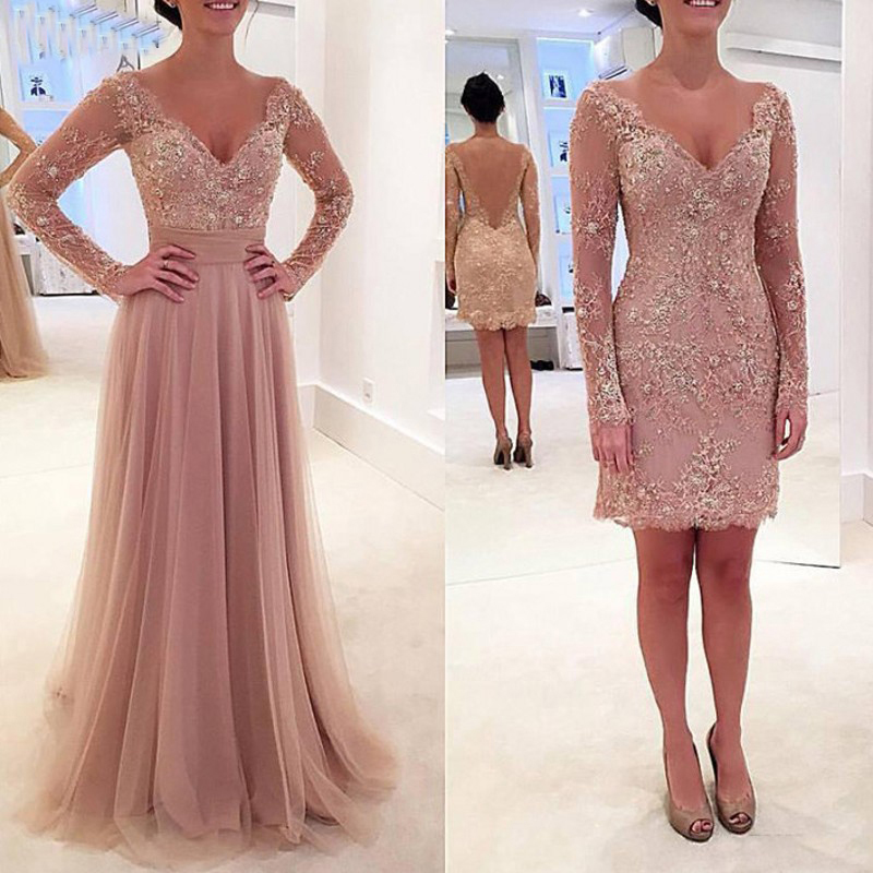 Lace And Tulle Mother Of The Bride Dresses Formal Wedding Party Gowns Long Sleeves V-Neck Removable Skirt Dusty Pink Vestido De