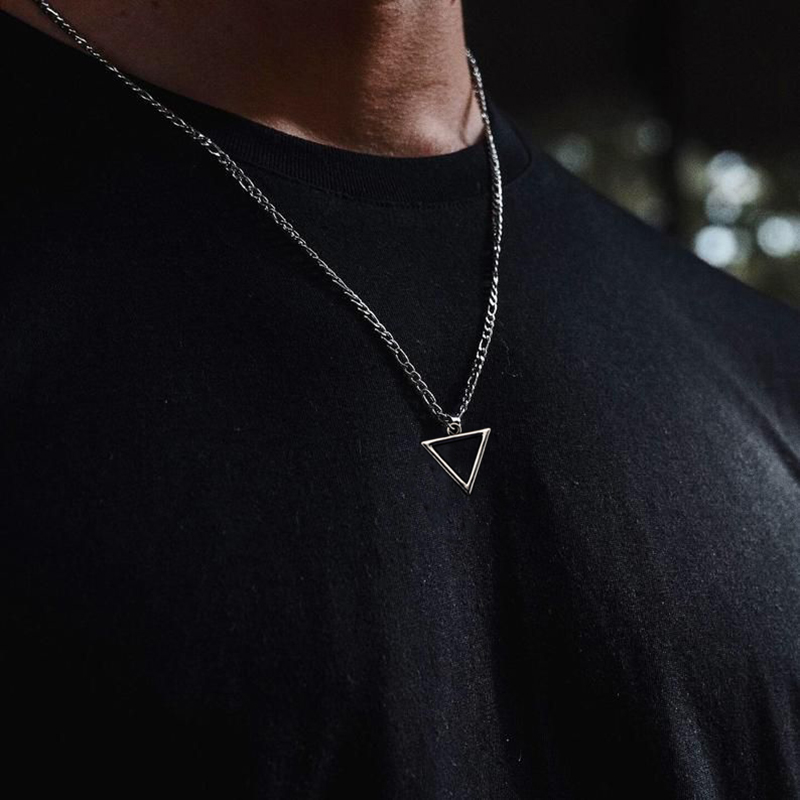 Necklace Men Women Triangle Long Chain Necklace for Men Pendant Mens Choker Hip Hop Gothic Punk Party Fashion Jewelry 2020