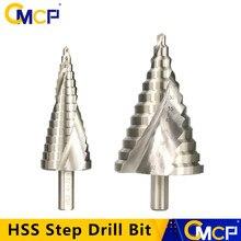 CMCP 1 шт. быстрорежущая сталь 4-32 мм 6-60 мм ступенчатое сверло спиральное Рифленое пагода сверло треугольный хвостовик резак для отверстий сту...