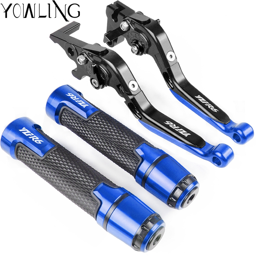 Motorcycle Accessories Extendable Brake Clutch Levers Handlebar Hand Grips ends For <font><b>Yamaha</b></font> YZF <font><b>R6</b></font> 1999 <font><b>2000</b></font> 2001 2002 2003 2004 image