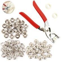100 pçs 9.5mm metal prong botões de pressão prendedores de pressão parafusos poppers bebê macacão fivela snap + 1pc alicate ferramenta
