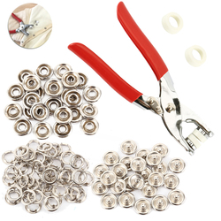 100 pcs 9.5mm Metal Prong Snap Buttons Fasteners Press Studs Poppers Baby Romper Buckle Snap+1pc Plier Tool