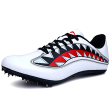 2020 Professional Track and Field Shoes for Men Women Sport Spikes Running Sneakers Nails Race Shoes Trainers Black White