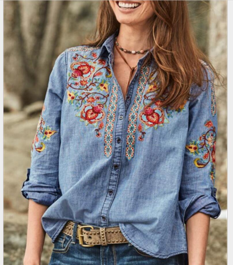 Vintage Embroidered Shirts Tops Women 2020 spring Elegant Button Slim Blusas Female Lapel Blouse Plus Size 2xl r965