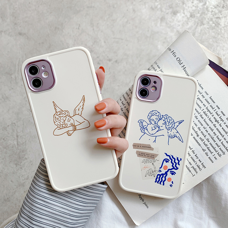 Cute Angel Art Phone Case For Iphone 12 Mini 11 Pro Max X Xs Xr 7 8 Puls SE 2020 Fashion Cupid Plating Hole Soft Silicone Cover