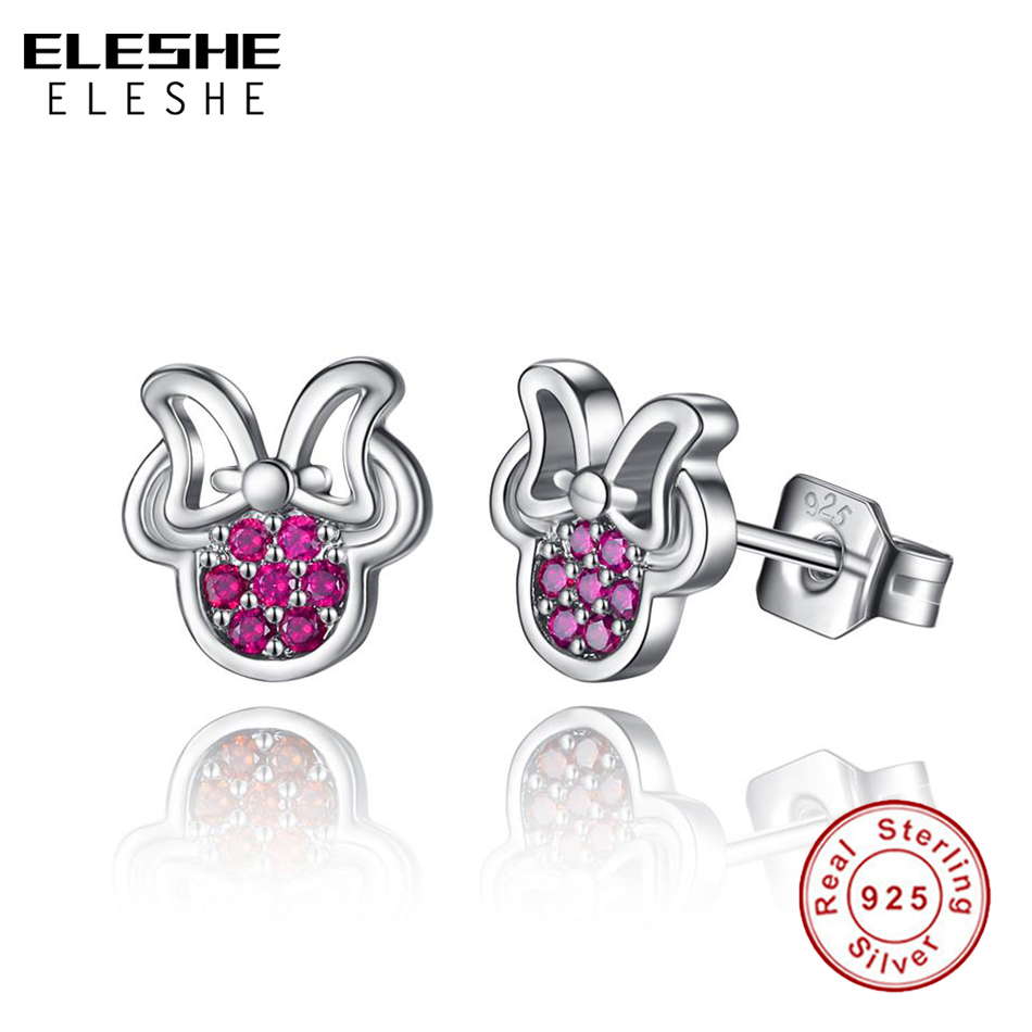 ELESHE 925 Sterling Silver Tiny Earrings With Cubic Zirconia Pink Minnie Stud Earrings For Women Girls Silver 925 Jewelry