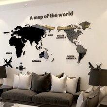 Büyük boy dünya haritası akrilik 3D duvar çıkartmaları oturma odası kanepe arka plan ayna duvar çıkartmaları DIY sanat ev dekorasyon