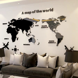 Image 1 - Large size World Map Acrylic 3D Wall Stickers for Living Room Sofa Background Mirror Wall Stickers DIY Art Home Decoration