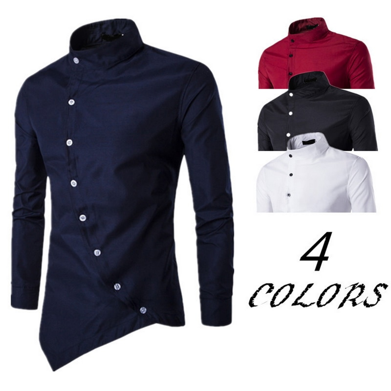 Men's New Court Shirt Small Stand Collar Personality Casual Slim Strap Button Irregular Long Sleeve Shirt