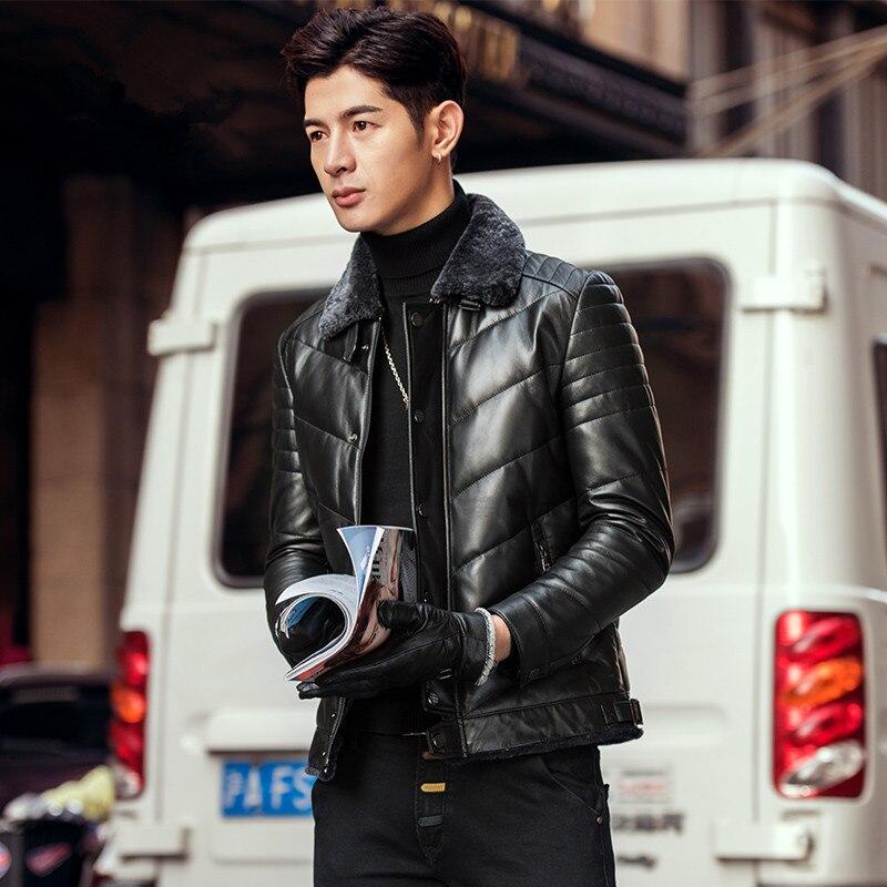 Short Genuine Leather Jacket Men Sheepskin Coat Wool Collar Autumn Winter Down Jacket Chaqueta Cuero Hombre H01 KJ1514