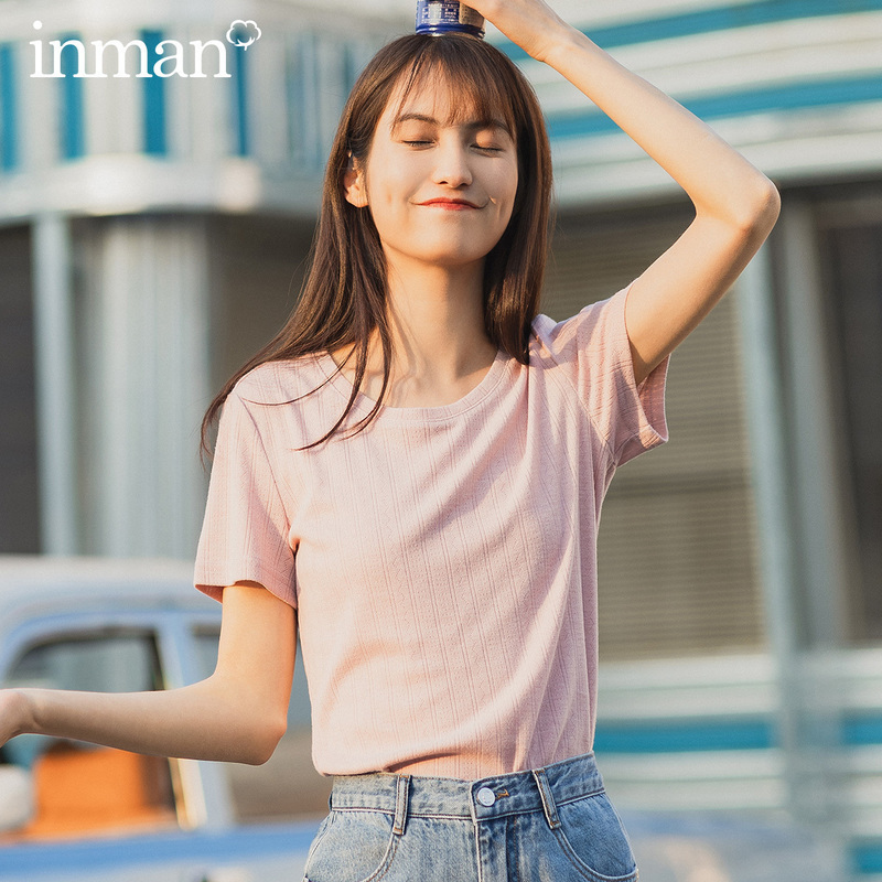 INMAN Office Style 2020 Summer New Arrival Round Collar All-match Sweet Short Sleeve T-shirt