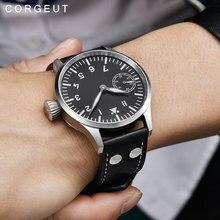 Corgeut 17 جواهر الميكانيكية اليد لف ساعة النورس 3600 حركة 6497 موضة جلدية الرياضة مضيئة رجل ساعة ماركة فاخرة