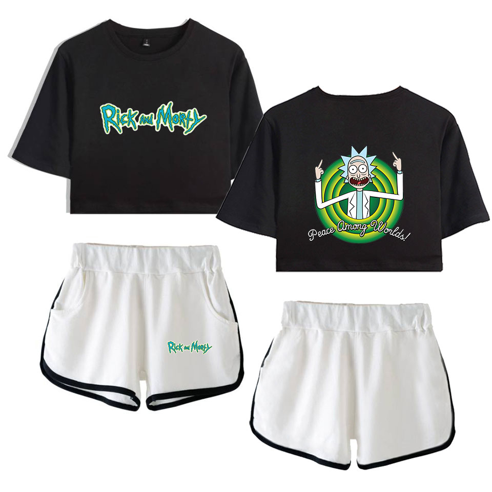 >Rick and Morty Women Two Piece <font><b>Set</b></font> Women <font><b>Fashion</b></font> <font><b>Summer</b></font> Short Sleeve Crop Top+Shorts 2019 <font><b>Fashion</b></font> Hot Sale Casual Clothes
