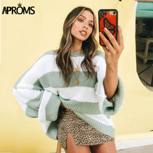 Aproms Elegant Color Blocked Loose Sweaters Women Autumn Winter Candy Knitted Soft Pullovers Plus Size Streetwear Outfits