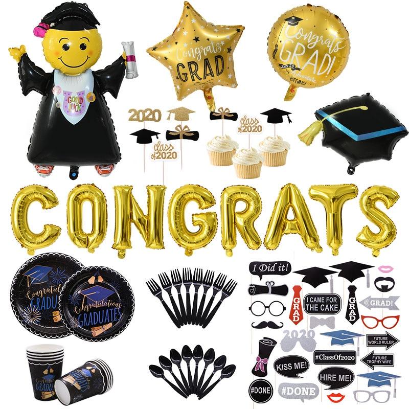 Graduation Photo Booth Props Graduation Party Decorations Congrats Grad Banner Graduation Balloons Backdrop Class Of 2020