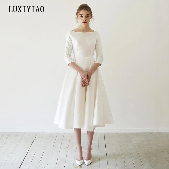 New Simple Wedding Dresses Satin Tea length With Sleeve abendkleider matrimonio vestidosde novia robe-de-mariee Direct China 1