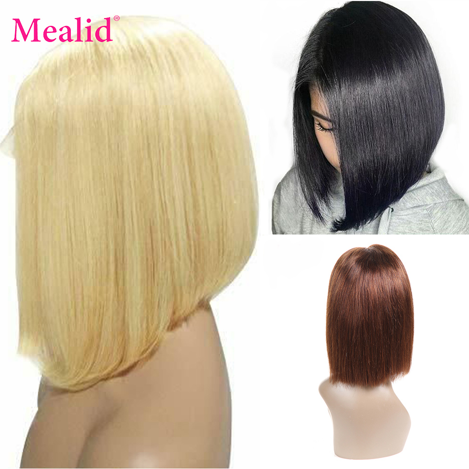 Mealid 613 Blonde Short Bob Wigs Remy Brazilian Straight Hair Lace Front Human Hair Wigs With Pre Plucked Hairline 13x4 Color 4