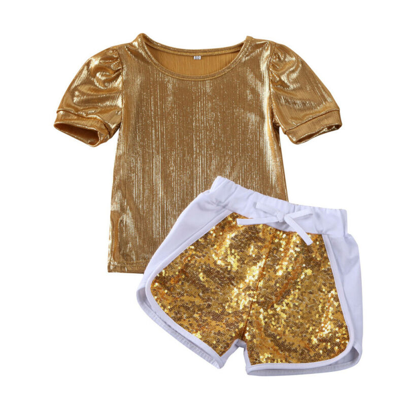 Summer Toddler Kids Baby Girl Sets Tops T-shirt Sequins Sorts Clothes Tracksuit Two-Pieces Outfit
